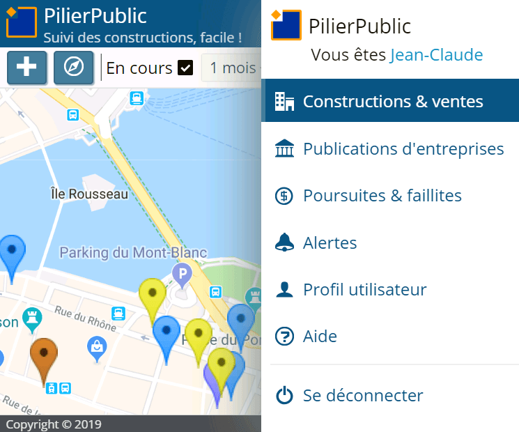 Menu dans l'application
